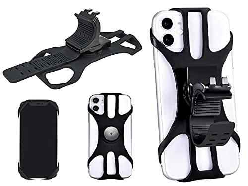 Carall - Soporte universal para teléfono móvil de bicicleta, para manillar de moto, scooter eléctrico, bicicleta MTB de 360 °, giratorio de silicona, solo 4 esquinas sin cubrir botones ni pantalla