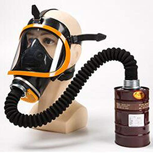 Realistisch gasmasker, Chemisch gas pesticide anti-giftig gas, zelfaanzuigend filter anti-virus volgelaatsmasker, uitgerust met giffiltertank,Medium tank