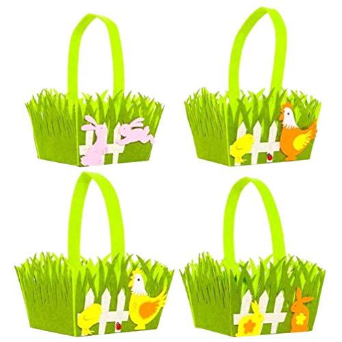 Garneck 4 stks Pasen Opslagranden Draagbare Bunny Haan Ei Containers voor Ei Jacht Gunsten Geschenken Snoepjes (Pink Oranje Geel)