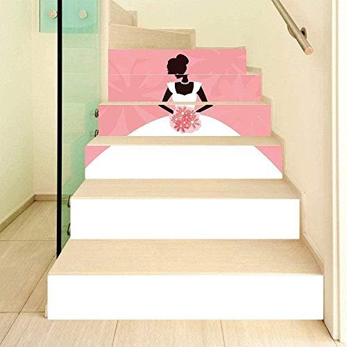 Nomte 3D Weißes Brautkleid der Braut, das Blumen hält 18×100cm×6pcs Treppenaufkleber Wandaufkleber Wohnzimmer Treppe Aufkleber Sofa Wand DIY Vinyl Selbstklebende Entfernbar Hintergrunddekoration