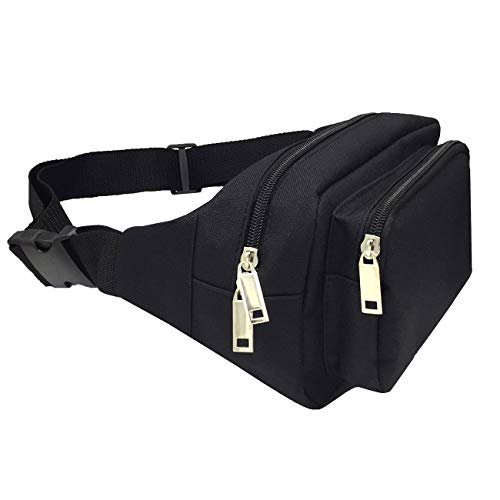 VGRISE Fanny Packs for Women & Men Waist Bag Pack Chest Shoulder Bag Tool Kit with Headphone Jack and Adjustable Strap for Outdoors Sport Workout Traveling Casual Running Hiking Cycling Gym (Black)
