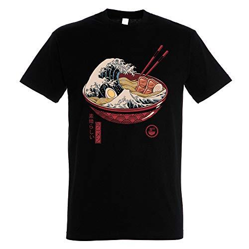 Pampling Camiseta Great Ramen Wave - Color Negro - 100% Algodón - Serigrafía