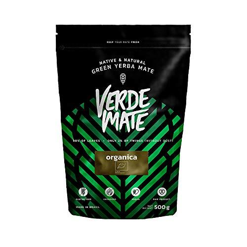 Yerba Maté Verde Mate Organica, Verde Mate Organica 500g, 100 % maté brésilien certifié BIO, Forte stimulation, Sans fumée, Végétalien, Sans gluten