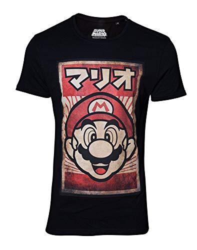 Super Mario Kanji – Camiseta original de Merchandise Negro  XXL