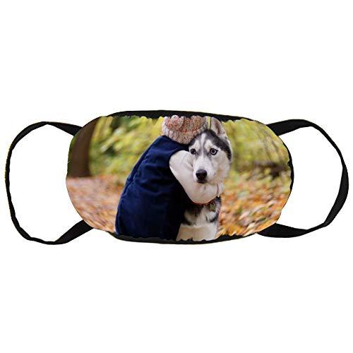 Stofvervuilingsmasker, peuter knuffelen Siberische Husky, zwart oor puur katoen masker, Geschikt voor mannen en vrouwen maskers
