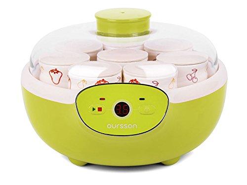Oursson FE1105/GA Yogurtiera, 1,5 Litri, 8 x vasi in ceramica, controllo digitale, Mela Verde