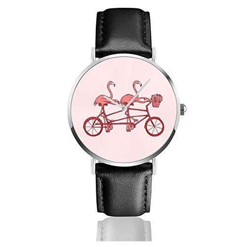Lederuhr Rosa Flamingos auf Tandem Bike Unisex Klassisch Casual Mode Quarz Uhr Edelstahl Uhr mit Lederband