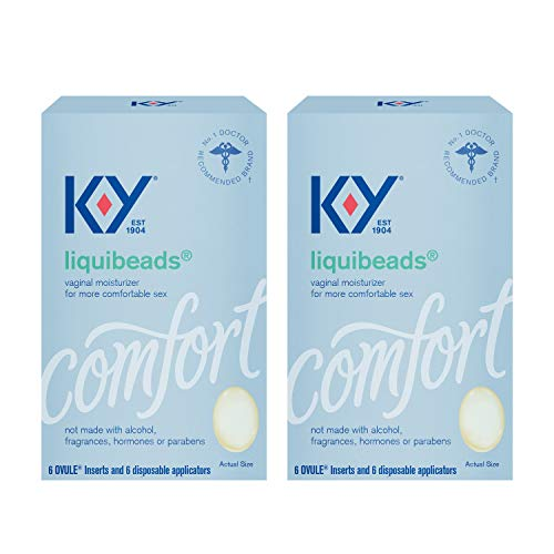 K-Y Liquibeads, Vaginal Moisturizer, Silicone-Based Formula, Safe to Use with Condoms, For Men, Women and Couples, 6 Ovules and Applicators (Pack of 2)