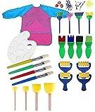 MIMINUO Juego infantil de herramientas de pintura para aprender a hacer manualidades, incluye pinceles de esponja, paleta y delantal, 22 unidades
