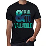 One in the City Hombre Camiseta Vintage T-Shirt Gráfico and Travel To Valladolid Negro Profundo
