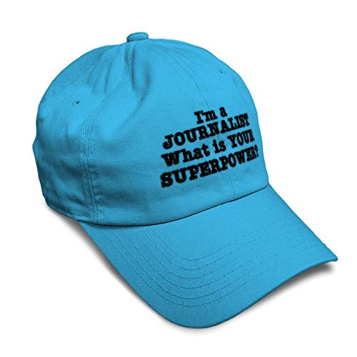 Speedy Pros Soft Baseball Cap Journalist Superpower Embroidery Cotton Dad Hats for Men & Women Flat Solid Buckle Aqua One Size