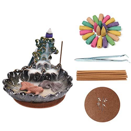 Retorno de incienso quemador de incienso, de cerámica, con 20 conos de incienso y 30 varillas de incienso para decoración del hogar