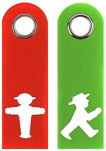 "Colgadores para puerta de fieltro (2 unidades), diseño de semáforo con texto en alemán ""Free besett"", color blanco"