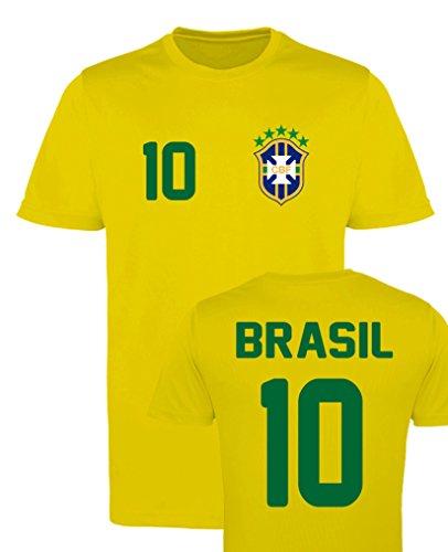 WM EM Trikot - Brasil 10 - Mädchen T-Shirt - Gelb Gr. 98-104