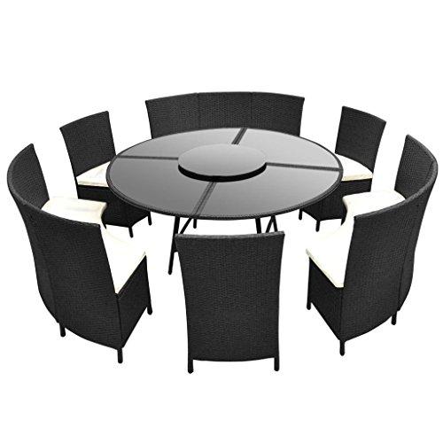 Festnight 13-TLG. Garten-Essgruppe Poly-Rattan Garten Sitzgruppe Rund Tisch Gartenmöbel Set für 12 Personen Schwarz