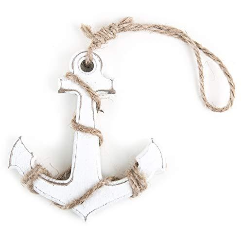 Logbuch-Verlag - Pequeño Colgante de Ancla de Madera con Ancla Blanca en la Cuerda BZW. 10 cm para Colgar como símbolo de decoración marítima, Amuleto de la Suerte, Matrimonio, Fuerza