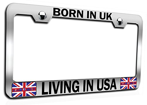 Makoroni - Born in UK Living in USA British England Ch Steel Auto SUV License Plate Frame, License Tag Holder