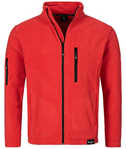 Rock Creek Herren Fleece Jacke Outdoor Wanderjacke Pullover Full Zip Hoodie Herrenjacke Fleecejacke Winterjacke Strickjacke Strickfleecejacke H-197 Rot L