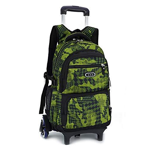 SCBJB Student Trolley Rucksack, Multifunktionsdruck wasserdichte Schultasche mit großem Fassungsvermögen für Grund- und Sekundarschüler, geeignet zum Verschenken von Kindern.-fluorescentgreen-6rounds