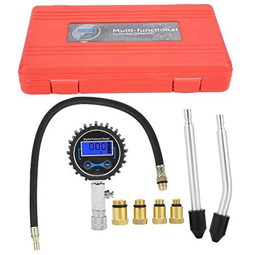 Inflador digital de neumáticos con medidor de presión Probador de compresión 3-200 PSI Cilindro del motor Detección de presión Kit de medidor digital para reparación de medidores
