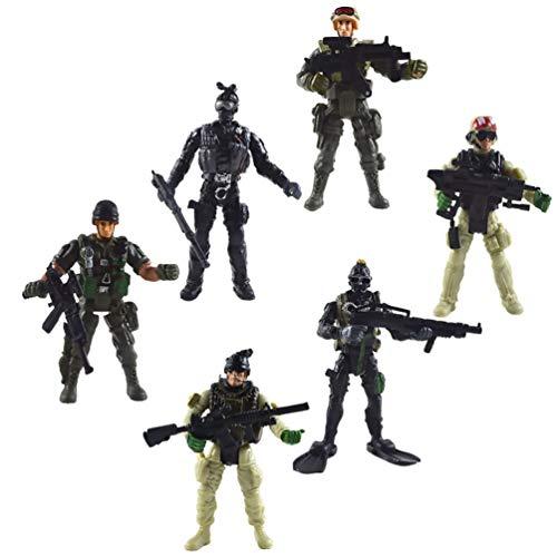 TOYANDONA 6Pcs Soldier Playset Fuerzas Especiales Figuras de Acción Hombres Rangers Swat Modelos con Armas Y Accesorios Counter Strike Juguetes