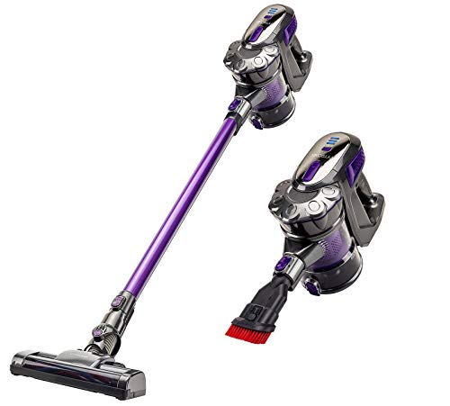VYTRONIX Powerful 22.2v Lithium 3in1 Cordless Upright Handheld Stick Vacuum Cleaner, Lightweight, Compact. Rechargeable Li-Ion Battery, for Hard Floor, Carpet, Pet Hair, Car, Home. Purple…