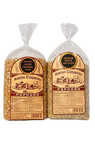 Amish Country Popcorn | 2 - 2 lb Bags | 2 lb Medium White and 2 lb Extra Large Caramel Type Popcorn Kernels Bundle | Old Fashioned with Recipe Guide