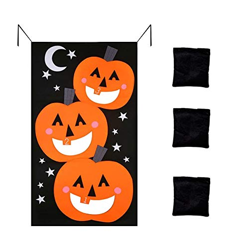 Solar Light  Pumpkin Hanging Toss Game with for Adults Kids Halloween Party Decor Funny Props Home & Garden Home Decor Christmas for Faclot