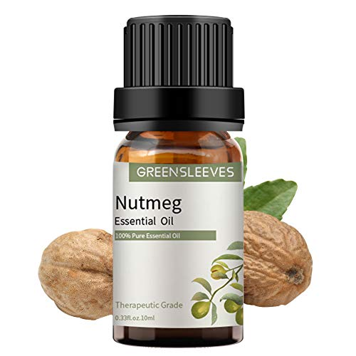 GREENSLEEVES Nutmeg Essential Oil 10ml, 100% Pure Therapeutic Grade Oils (Nutmeg)