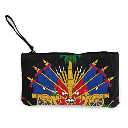 TTmom Carteras de Mujer,Monedero, Coat of Arms of Haiti Unisex Canvas 3D Print Pattern Portafogli per Portamonete per Uomini e Donne