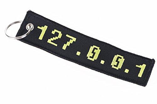 IP-Adresse 127.0.0.1 - Localhost - bestickter Schlüsselanhänger in Schwarz/Gelb. Das Synonym für -Zuhause- für IT-Admins, Programmierer, Nerds.