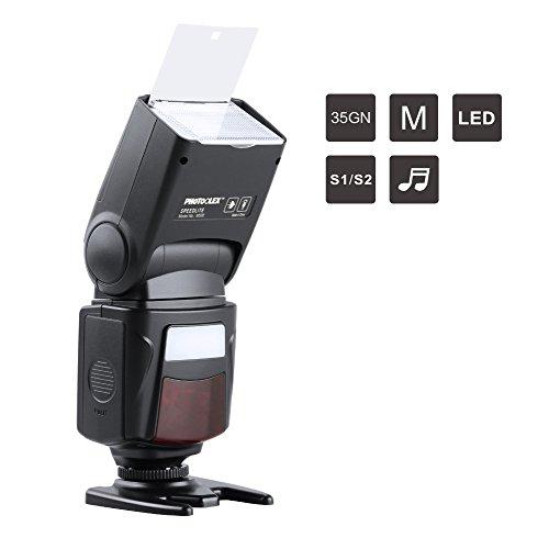 PHOTOOLEX M500 Flash Speedlite per Canon Nikon Sony Panasonic Olympus Fujifilm Pentax Sigma Minolta Leica e Altre SLR Digitale Film SLR Videocamere e Fotocamere Digitali con Single-Contact Hot Shoe