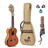 Concert Ukulele Professional Series by Hola! Music (Model HM-424SMM+), Bundle Includes: 24 Inch SOLID Mahogany Top Ukulele with Aquila Nylgut Strings Installed, Padded Gig Bag, Strap and Pick