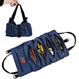 GEEDUD Roll Up Tool Bag, Wrench Roll Up Pouch Multi-Purpose Canvas Tool Roll Organize for Electrician, HVAC, Plumber, Carpenter or Mechanic (Blue)