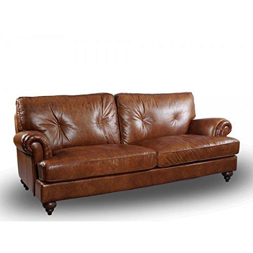 Vintage-Line Loungessofa Pembury 3-Sitzer Leder Montaigne Brown (rotbraun) Echtleder Sofa Couch