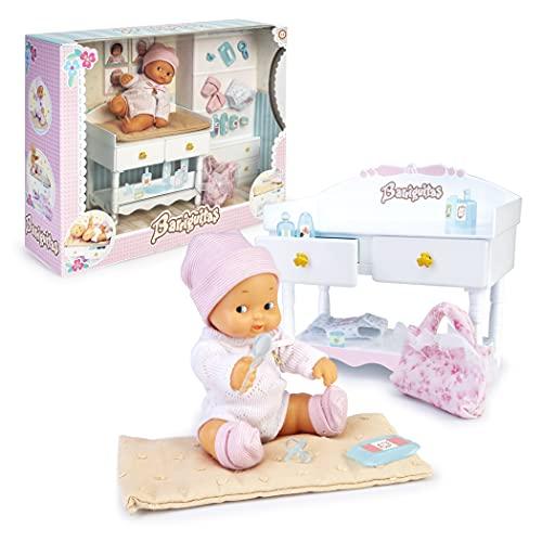 los Barriguitas - Cambiador para bebé, incluye una muñeca barriguitas de siempre y muchos accesorios para completar colección casita de muñecas para niñas y niños desde 3 años, Famosa (700016654)
