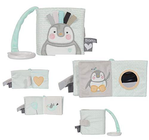 Tiamo Lou-Lou Pinguin Baby Stoffbuch Buggybuch grau Mint