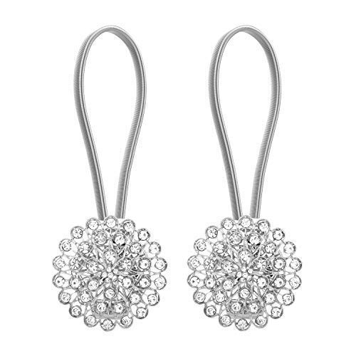 Lewondr 1 Pair Sparkling Crystal Flower Curtain Tieback Stretchy Curtain Buckle Clips Curtain Bind Stainless Spring Wire Magnetic Drapery Holder - Silver