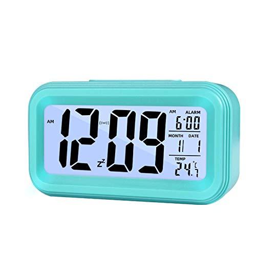 Reloj Despertador Digital Pilas, Reloj Alarma ElectrónicoconInteligente Simple para Niños Adultos - Hora Fecha Temperatura Sensor de luz, Pantalla Grande con Luz Nocturna, Función Snooze (A)