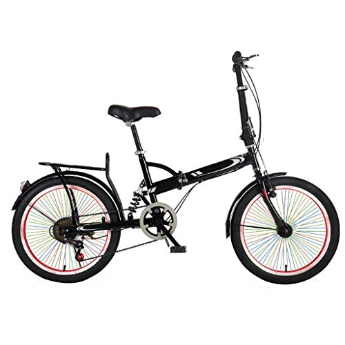 Amazing Deal TXTC Women's Adult Men's City Bike, Portable Shock Absorber Folding Bike Bicycles,Variable Speed Comfortable Bicycle, 20 Inch Wheel (Color : F)