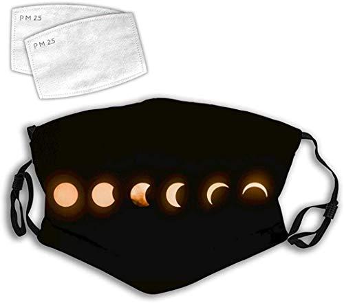 KINGAM Cat Space - Máscara antipolvo para boca, resistente al viento, reutilizable, con bucles ajustables para los oídos, lunar, eclipse lunar, talla única
