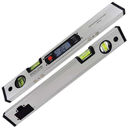 Digitale gradenboog met een bereik van 360 graden, waterpas, verticale hellingsmeter met magneten zilver.