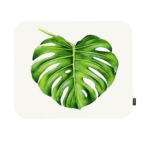 EKOBLA Leaf Mouse Pad Tropical Monstera Hand Painted Watercolor Realistic Botanical Art Nature Gaming Mouse Mat Non-Slip Rubber Base Thick Mousepad for Laptop Computer PC 9.5x7.9 Inch