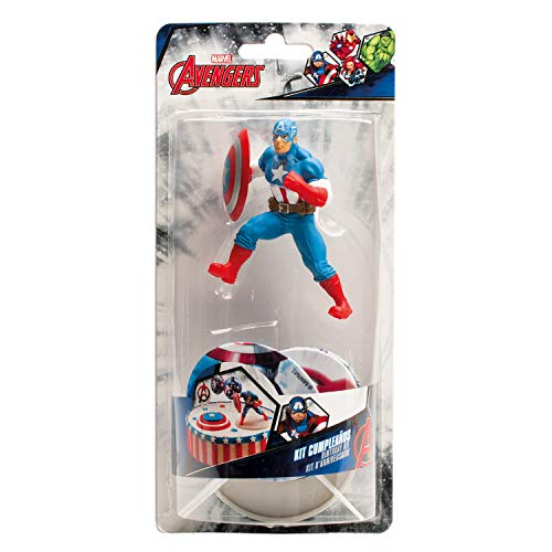 Captain America 303006 Kit Decoration GÂTEAU Figurine, Plastique, Multicolore,, 11 x 5 x 23 cm