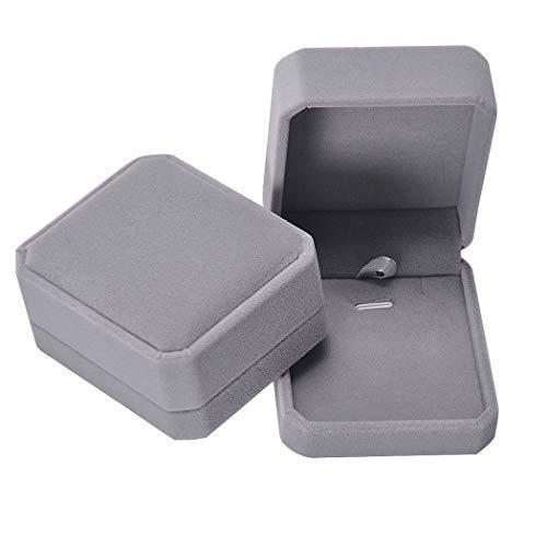 iSuperb Velluto Scatola di Gioielli per Anelli Orecchini Collana Braccialetti Confezione Regalo per Nozze Fidanzamento Double Ring Jewelry Box