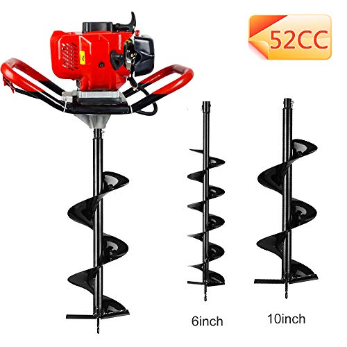 "ECO LLC 1-Person 52cc 2-Cycle Earth Auger Powerhead with Two Earth Auger Drill Bit 6"" & 10"""