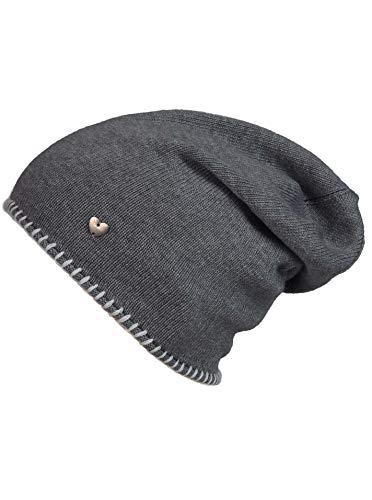 Cashmere Dreams Slouch-Beanie-Mütze mit Kaschmir - Hochwertige Strickmütze für Damen Mädchen - Herz - Heckel-Rand - One Size - warm und weich im Sommer Herbst und Winter Zwillingsherz (ant/weiß)
