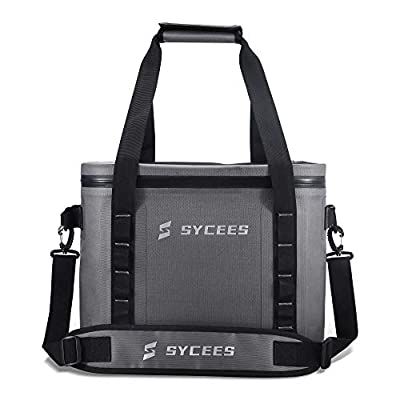 SYCEES Cooler Backpack, 30 Cans Portable Leakproof Waterproof Insulated Soft Cooler Bag for Camping, Fishing, Hiking, Golf, Picnics,Beach (Grey)