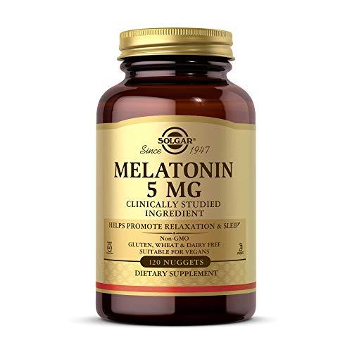 Solgar Melatonin 5 mg, 120 Nuggets - Helps Promote Relaxation & Sleep - Clinically-Studied Melatonin - Supports Natural Sleep Cycle - Vegan, Gluten Free, Dairy Free, Kosher - 120 Servings