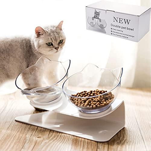 Timisea Futternapf fKatzen, Doppel-Katzennapf mit erhöhtem Stand 15 ° Geneigt Katzennäpfe, Futternapf Katze Erhöhte Futternapf, für Katzen Und Kleine Hunde,Hase(Double Bowl)